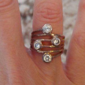 Lia Sophia Silver Cubic Zirconia Ring Size 6